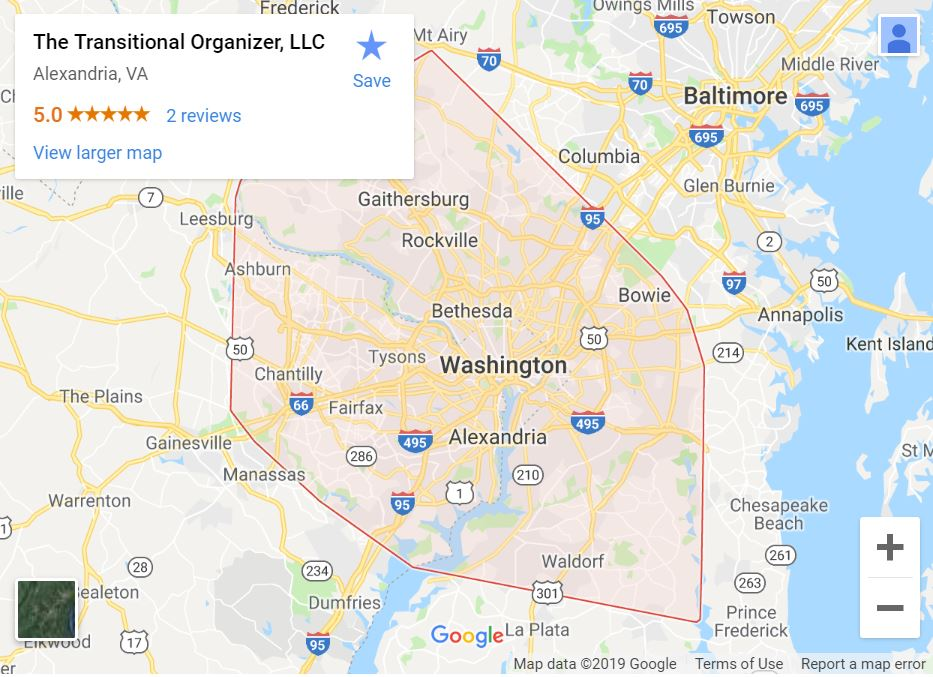 transitional organizer serving northern Virginia, Washington DC and Maryland